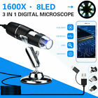 3 IN 1 Digital Microscope Magnifier 1600X 8LED USB For PC Android