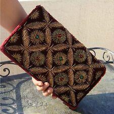 Vintage Embroidered Velvet Handcraft Stitched Clutch Shoulder Evening HandBag