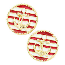 Anchor Disc Fashionable Earrings - Enamel - Stud - Gold Plated - 2 Colors