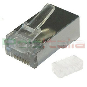 10x Connettore RJ45 Cat6 Schermato FTP | plug per cavo di Rete ethernet Lan 8p8c