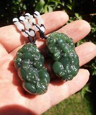 Top Grade Canadian Jade Detail Hand Carved Pair Dragon PiXiu,BiXie Coin Pendant