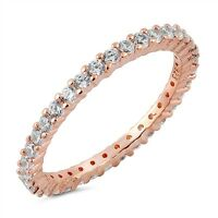 Sterling Silver 925 STACKABLE ETERNITY ROSE GOLD CLEAR CZ RING 2MM SIZE 4-10