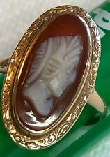 oval ring size 6.75, 2.6g Estate Find Vtg Antique Art Deco 12k gold Cameo Conch