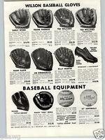 1957 PAPER AD Baseball Glove Ted Williams Fieldmaster Early Wynn Billy Matin ++