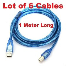 Wholesale 6 X 1 Meter Printer Cable USB Type A to B  Transparent Blue Colour