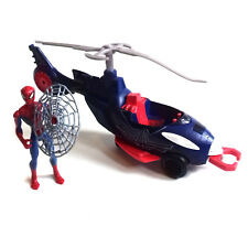 """Marvel Comics SPIDERMAN 10"""" HELICOPTER VEHICLE TOY with figure & firing missile"""