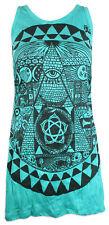 SURE Damen Träger Kleid Lang Shirt dritte Auge Pyramide Freidenker Goa Psy S M L
