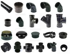 """Black Soil Pipe & Ring Seal Fittings UPVC Socket 110mm (4"""") External/Internal UK"""