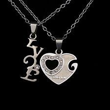 2 Piece Couple Necklace Set - Heart & Love