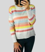 Womens Ladies Colourful Cosy Candy Stripe Crew Neck Knit Jumper Size S-XL