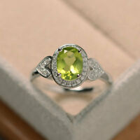 14K White Gold Peridot 1.65 Carat Certified Diamond Wedding Ring Size 6 6.5 7 8