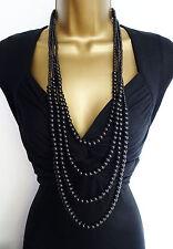"Beautiful 38"" Long Layered Black Glass Bead Necklace"