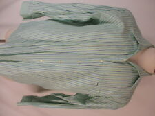 Lacoste Mens Green Stripe Long Sleeve Cotton Shirt size 44 XL