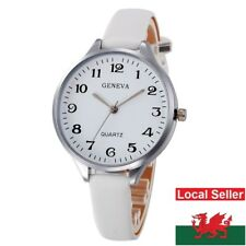 Ladies Geneva White Large Face Thin White Faux Leather Strap Wrist Watch