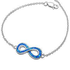 Blue Fire Opal Infinity .925 Sterling Silver Bracelet