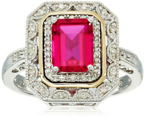 Fashion Silver And Gold Zircon Cut Zircon Art Deco-Style Ring Size 8