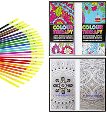 Anti Stress Adult Colour Therapy 2x50 PAGE Travel Colouring Book + 24 felt tips