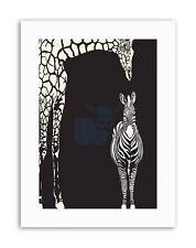 ABSTRACT ZEBRA GIRAFFE ZOO Poster Painting Illustration Canvas art Prints