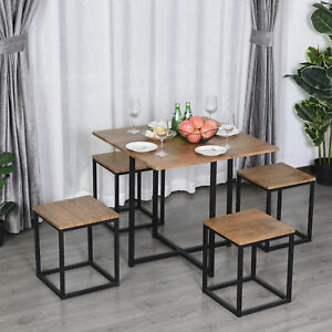 HOMCOM Compact 5pc Kitchen Dining Set Wood Bar Table Chair Home Furniture