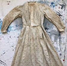 Antiguo 1900s Algodón Lunares Trabajo Vestido Nácar Botones Eduardiano Vintage