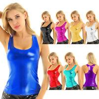 US Women's Wetlook Crop Top T-shirt Blouse Bustier Sleeveless Tank Tops est Club
