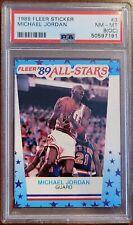 1989 Fleer Sticker MICHAEL JORDAN 89 All-Stars NBA #3 NM-MINT PSA 8 OC