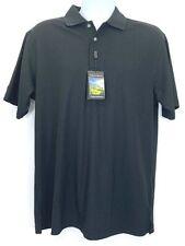 Pebble Beach Performance Mens Polo Shirt Black Short Sleeves Golf Apparel M New
