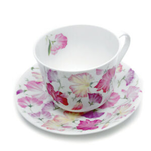 Roy Kirkham Sweet Pea Large 450ml Breakfast Cup & Saucer Pink Bone China Gift