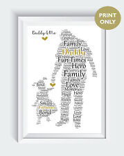 Personalised Dad Daddy Stepdad Daughter Christmas Birthday Gift Word Art Print