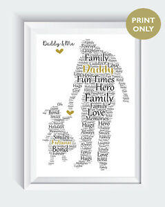 Personalised Fathers Day Gifts Dad Daddy Daughter Word Art Gift Print ONLY