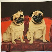 Jacquard Woven Belgian tapestry Cushion Pillow Cover - Cute Pugs on a Sofa - EUC