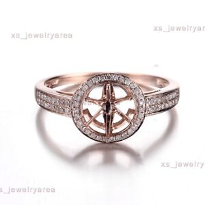 Solid 10K Rose Gold 6mm Round Natural Diamonds Semi Mount Ring Wedding Jewelry