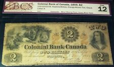 1859 COLONIAL BANK OF CANADA $2 (CANADA CHARTERED BANKNOTE)