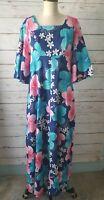 Ui-Maikai S M Vintage Hawaiian Hawaii Long Hibiscus Barkcloth Floral Dress