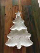 14 in decorative ceramic Christmas Tree candy dish with gold accents