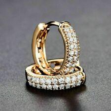 1.0 Ct Round Cut 2-Row Diamond Huggie Hoop Earrings Solid 14K Yellow Gold Finish