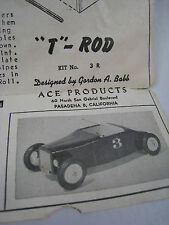 Vintage T-Rod Toy Hot Rod Car Build Sheet Instructions Ace Products Pasadena, CA