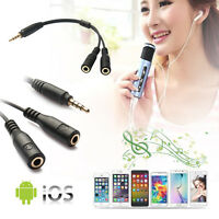3.5mm Stereo Male to 2 Female Headphone Mic TRRS Y Splitter Cable Audio Adapter