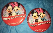 Walt Disney World Two Rare HAPPY ANNIVERSARY Pins Buttons, DISCONTINUED