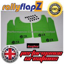 rallyflapZ MG ROVER MG ZR (01-05) Mudflaps Lime Green Polyurethane PU Logo Black