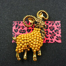 Animal Crystal Betsey Johnson Brooch Pin New Yellow Rhinestone Cute Pearl Goat