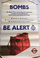 2 London Underground Transport Posters Bombs Be Alert And Security At Finsbury