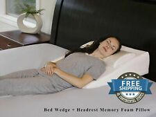 Wedge Pillow Acid Reflux Memory Foam Foot Leg Washable Bed 7.5 In Sleeping Snore
