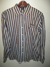 Phat Farm Men's French Cuff Striped Dress Shirt with Logo Cufflinks NEW XLarge