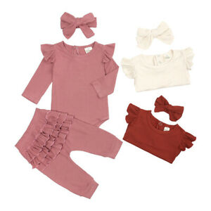 Toddler Kids Baby Girls Dress Tops Leggings Headband Clothes 3Pcs Outfits Set UK