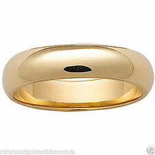 14K Solid Yellow Gold 7mm Size 8 Plain Men and Womens Fit Wedding Band Ring 7 MM