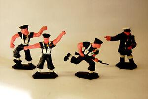 Konvolut, Marine Infanterie Lone-Star, 4 Kunststofffiguren, Weichplastik, 1950er