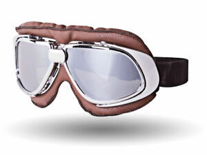 Vintage Retro Cafe Racer Riding Sports Motorcycle Scooter Goggles - Chrome Lens