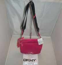 DKNY Handbag Flat Nylon Cross-Body Messenger, Shoulder Bag, Purse $145 Magenta