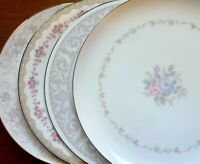 """Set of 4 Mismatched China 10"""" Dinner Plates White, Pink, Gray, & Blue w/ Silver"""